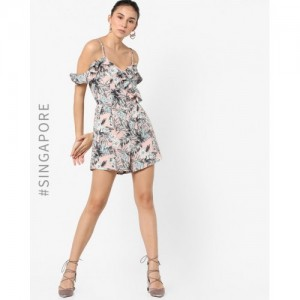 9cc6be0d74f MDS MultiColour Crepe Strappy Floral Print Playsuit with Ruffles