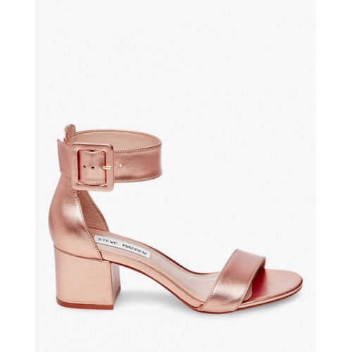 STEVE MADDEN Textured Block Heels with Ankle Strap