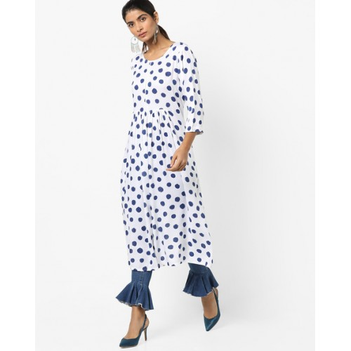 22271001d8 ... Project Eve IW Casual Polka-Dot Print A-line Kurta with Gathers ...
