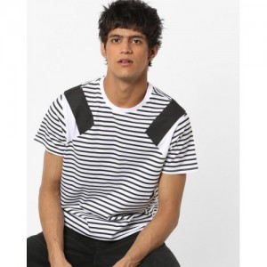 621c3e1f Buy MUFTI Striped Cotton Crew-Neck T-shirt online | Looksgud.in