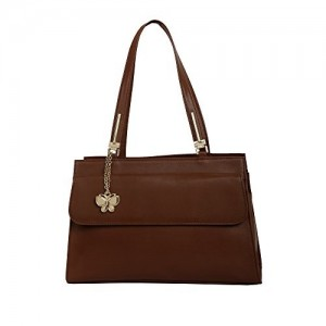 Butterflies Brown Polyurethane Solid Handbag