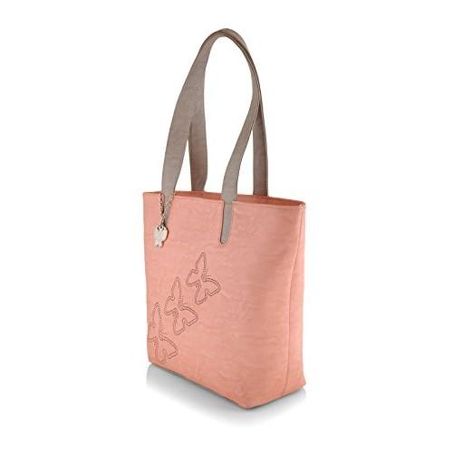 Butterflies Peach Polyurethane Printed Handbag