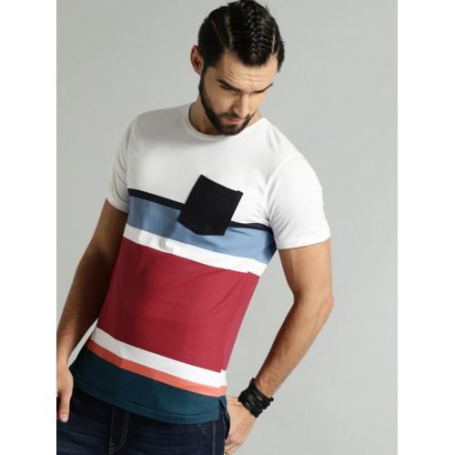 c8d5eab583e5 Buy Roadster Men White   Maroon Striped Round Neck T-shirt online ...