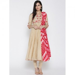 Biba Women Beige Woven Design Anarkali Kurta with Churidar & Dupatta