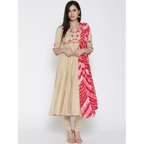 4343fcdaca ... Biba Women Beige Woven Design Anarkali Kurta with Churidar   Dupatta ...