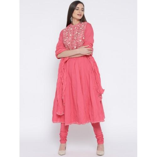 83838637d2f Buy Biba Pink Anarkali Churidar Kurta with Dupatta   Ethnic Jacket ...