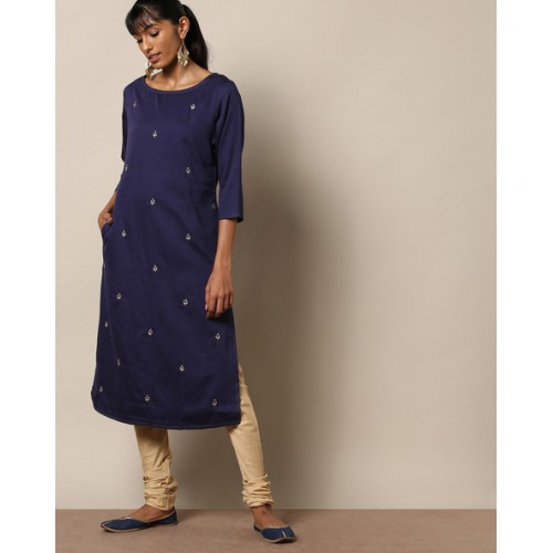 bcc3cf14327 Buy Indie Picks Hand Embroidered Cotton Silk Kurta online