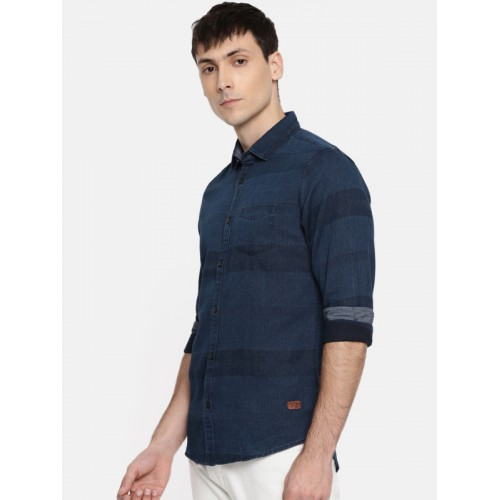Being Human Men Navy Blue Regular Fit Striped Casual Shirt