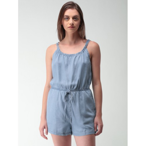 a928e4ddda49 Buy FOREVER 21 Women Blue Solid Playsuit online