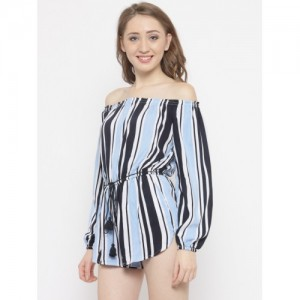 ad0261cb688b FOREVER 21 Blue   White Striped Off-Shoulder Playsuit