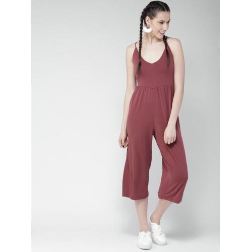 915f86c1af8 Buy FOREVER 21 Dark Pink Solid Culotte Jumpsuit online