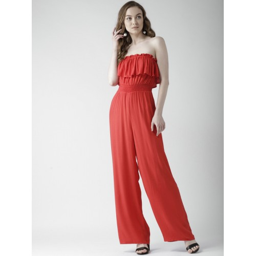 2dee140e889 Buy FOREVER 21 Red Solid Basic Jumpsuit online