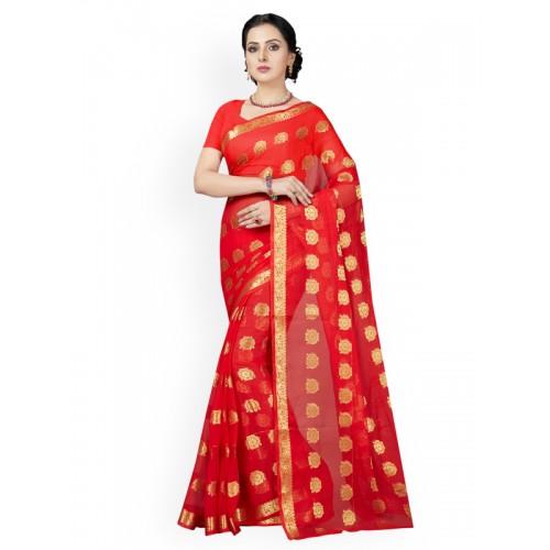 160b61aa6 Buy Ishin Red Woven Design Poly Chiffon Saree online