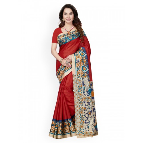 d5d8f1c85 Buy Ishin Red   Beige Art Silk Printed Mysore Silk Saree online ...
