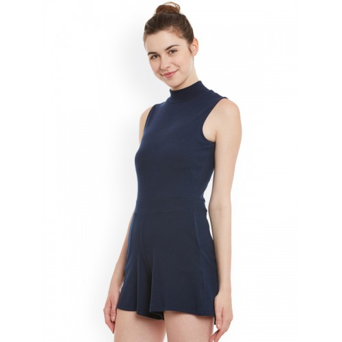 Miss Chase Navy Cotton Playsuit