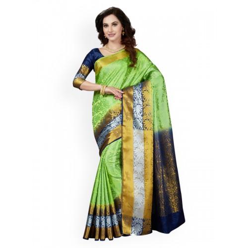 d0e4eec0747 Buy Ishin Green   Navy Blue Art Silk Printed Banarasi Saree online ...