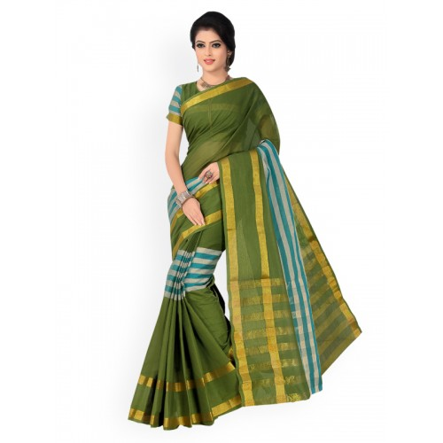5ce8d31c9 Buy Ishin Green Pure Cotton Striped Mangalagiri Saree online ...