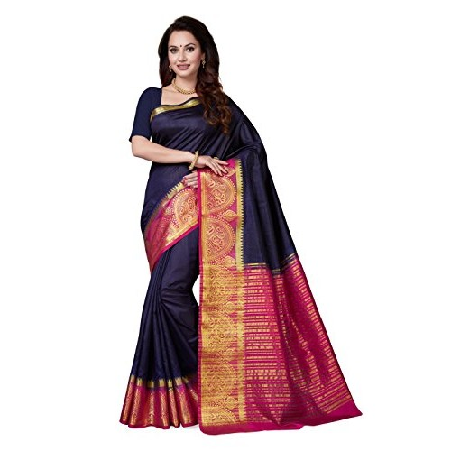 Ishin blue art silk woven saree with blouse