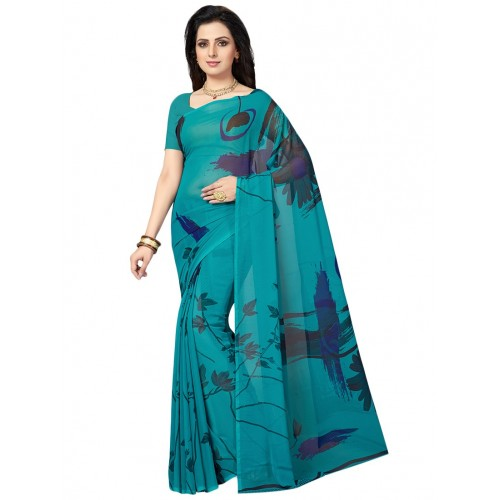 80a5cf40d85c6 Buy Ishin blue georgette printed saree with blouse online
