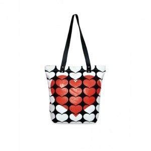 Pick Pocket White & Red Heart Printed Tote Bag