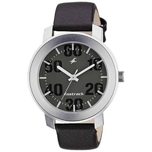 Fastrack NK3121SL02 Black Leather Round Analogue Watch