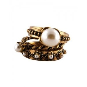 Young & Forever Antique Gold Vintage Jewel Pearl Embellished Rings