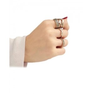 Young & Forever Tribal Inspired Antique Gold Midi Rings (Set of 6)
