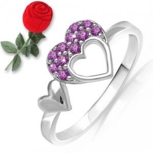 Mahi Love Purple Heart Ring with Swarovski Elements FR5104001RCPurBx