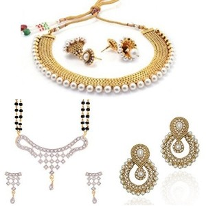 Zeneme Combo Jhumki Pearl Necklace Set With Earring, Pearl Earring, Designer Mangalsutra For Women
