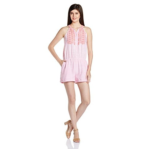 People Pink Khadi Cotton Casual Jumpsuit