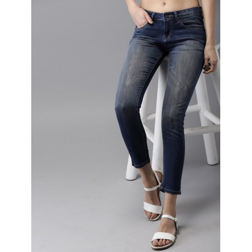 HERE&NOW Women Blue Ankle Skinny Fit Mid-Rise Clean Look Stretchable Jeans