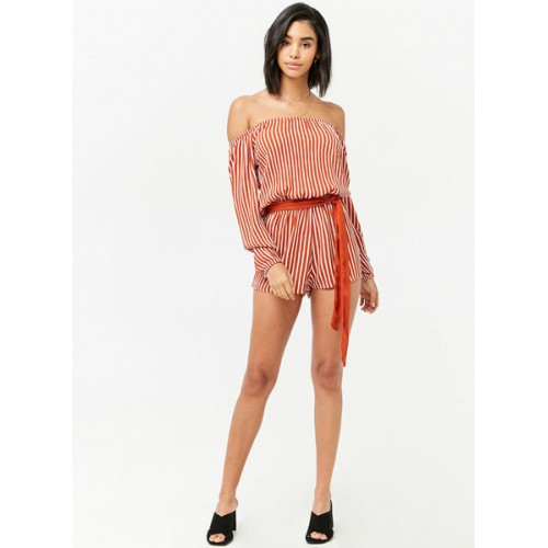 5e0efec540b Buy Forever 21 Rust Red   White Striped Basic Jumpsuit online ...
