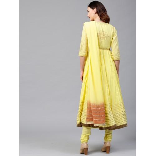 Rain & Rainbow Women Yellow Yoke Design Anarkali Kurta with Churidar & Dupatta
