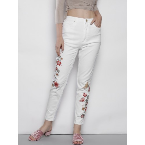 DOROTHY PERKINS Women White Embroidered Stretchable Jeans