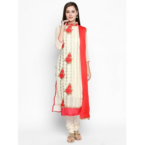 1f9685bb7f ... Ishin Cream &Red Poly Georgette Embroidered Dress Material ...