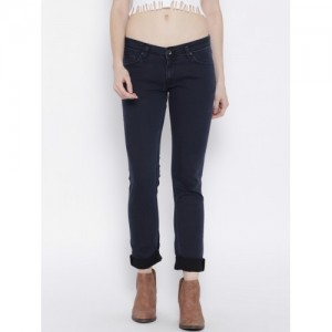 Pepe Jeans Women Navy Frisky Slim Fit Low-Rise Clean Look Stretchable Jeans