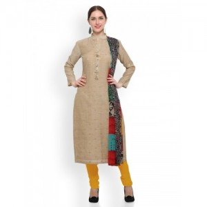 Saree mall Beige & Mustard Cotton Blend Unstitched Dress Material