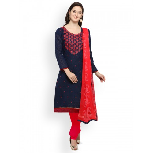 Saree mall Navy Blue & Red Cotton Blend Unstitched Dress Material