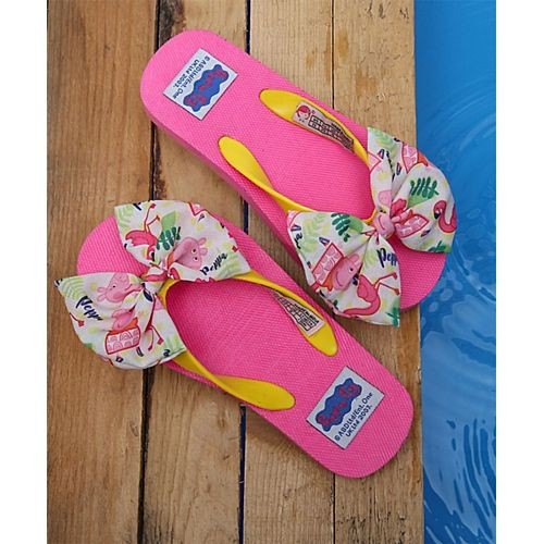 D'chica Pink Rubber Slip-On Look Flip Flops