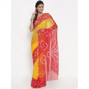 Pavechas Yellow & Red Pure Chiffon Dyed Bandhani Saree