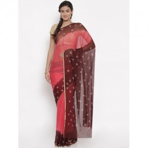 Pavechas Pink & Brown Pure Chiffon Dyed Bandhani Saree