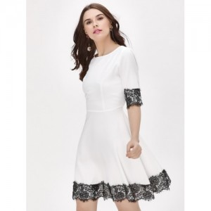 Femella Contrast Lace Mini Skater Dress