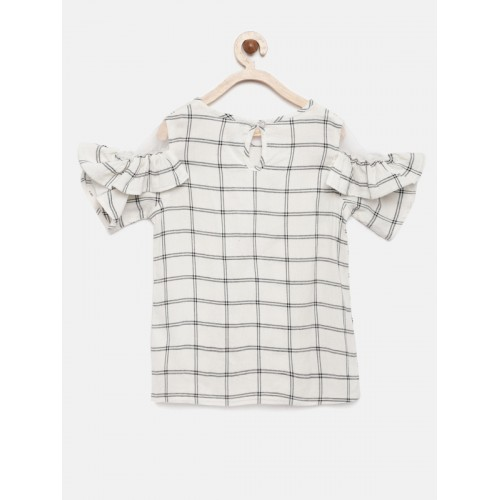 YK Girls Off-White & Black Mesh Cold-Shoulder Checked Top