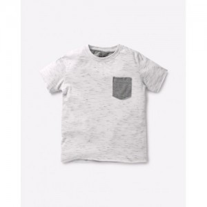 AJIO Heathered T-shirt with Contrast Patch Pocket
