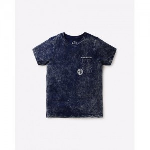 AJIO Washed Crew-Neck T-shirt with Patch Pocket