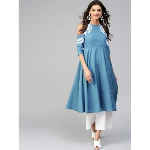 SASSAFRAS Blue Embroidered Cold Shoulder A-Line Kurta