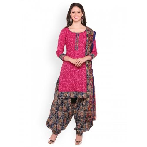 Satrani Pink & Blue Cotton Blend Unstitched Dress Material