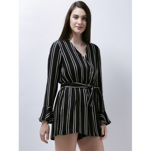 d4a508c51f13 Buy Zastraa Black   White Striped Playsuit online