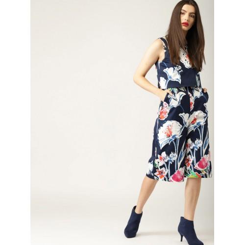 00bad2f206d Buy ESPRIT Navy Blue   White Printed Culotte Jumpsuit online ...