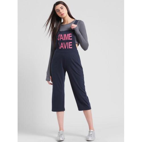 be876bc827ba Buy Rigo Navy Blue   Pink Solid Capri Jumpsuit online